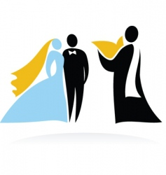 Wedding people silhouettes vector
