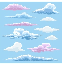 White blue and pink clouds collection vector image vector image
