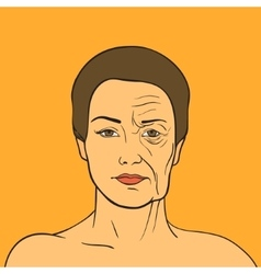 Woman face before and after aging young woman and vector