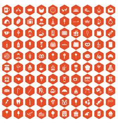 100 sweets icons hexagon orange vector