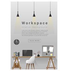 Interior design modern workspace banner 2 vector