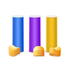 Set of Purple Blue Yellow Tin Box with Chips vector image