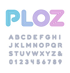 Linear font alphabet with stripes effect letters vector