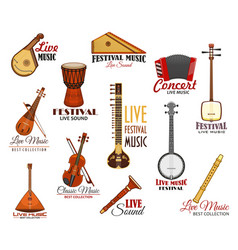 Icons set for live music festival concert vector