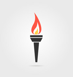 Olympic flame icon with shadow vector