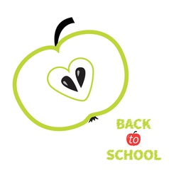 Green apple with heart center seed Back to school vector image