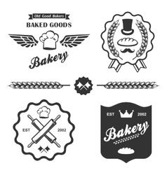 Bakery bread vintage retro badges labels set vector