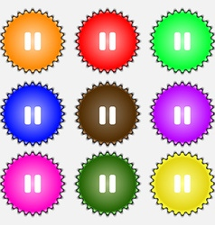 pause icon sign A set of nine different colored vector image