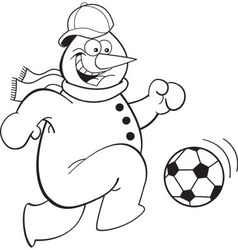 Cartoon snowman playing soccer vector
