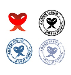 Red ribbon logo and set of stamps with different vector