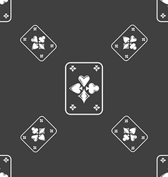Game cards icon sign seamless pattern on a gray vector