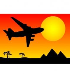 aeroplane above pyramids vector image