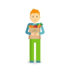 man with fresh vegetables vector image