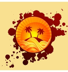 Round summer background of palms and sea in sunset vector