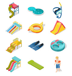 Aqua park isometric icon set vector