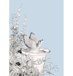 Bird Bath Sketch Flowers vector image vector image