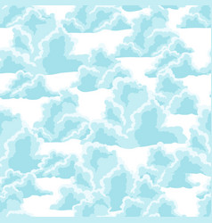 blue sky seamless pattern with curly clouds vector image