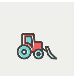 Bulldozer thin line icon vector image