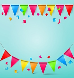 Bunting Confetti and Flags with Ribbons Colorful vector image