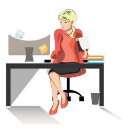 business woman or a clerk working at her office vector image vector image