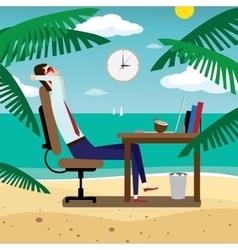 Businessman relaxing on tropical beach vector