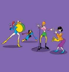 Cartoon female music group vector image