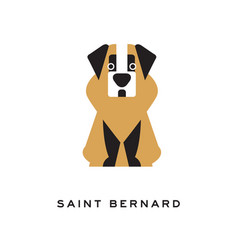 cartoon saint bernard dog character in flat style vector image vector image