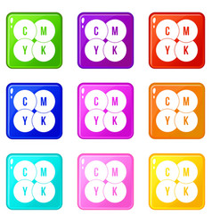 Cmyk circles icons 9 set vector