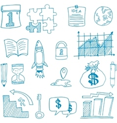 Doodle of business set symbol vector image