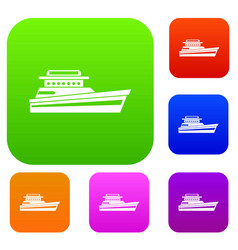 Great powerboat set collection vector
