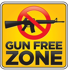 Gun free zone sign assault rifle vector image