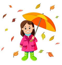 happy girl under umbrella vector image vector image