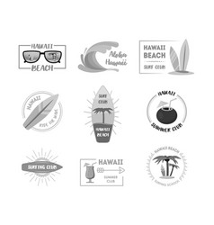 hawaii badges or labels set vector image vector image
