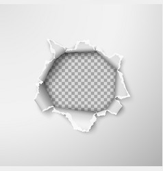 Hole in empty paper sheet rough torn paper edges vector
