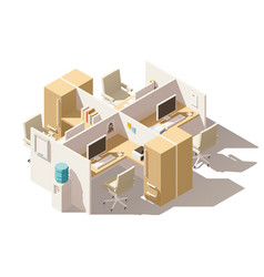 isometric low poly office cubicle vector image vector image