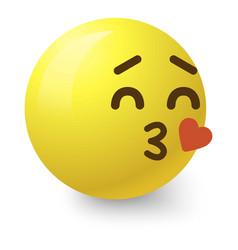 Kissing smiley icon cartoon style vector