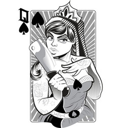 Lady with knife vector image vector image