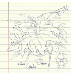 Notebook set with lilies vector image