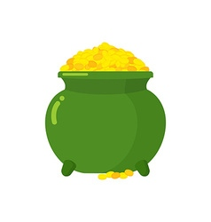 Pot of gold green big mythical pot with full gold vector