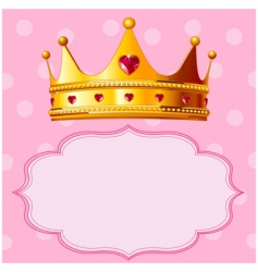 princess crown on pink background vector image vector image