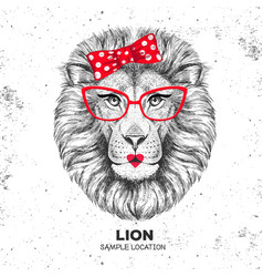 Retro hipster animal lion hand drawing muzzle vector