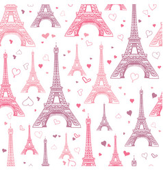 romantic pink eifel tower paris seamless vector image vector image