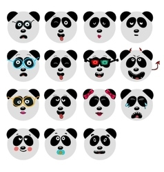 set of fun emoticon panda smileys isolated on vector image