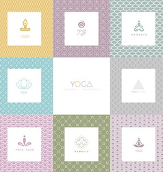 Set of logos and patterns for a yoga studio vector