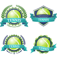 Set of tennis sport icons with ribbons laurel vector image vector image