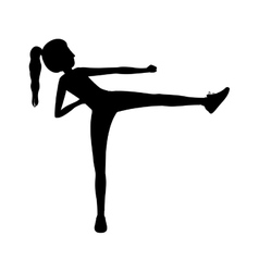 Silhouette woman martial arts kick vector