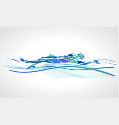 swimmer backstroke color silhouette vector image vector image
