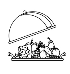 Tray with healthy food isolated icon vector