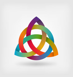 triquetra symbol in rainbow colors vector image