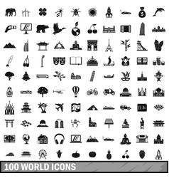 100 world icons set simple style vector image